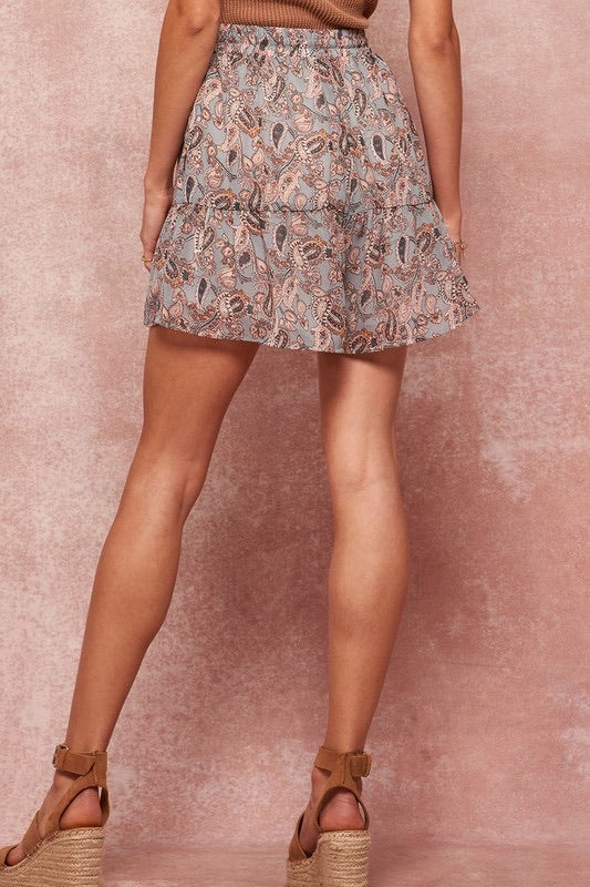 Nothing But A Good Time Paisley Print Skort - Pearl Blue