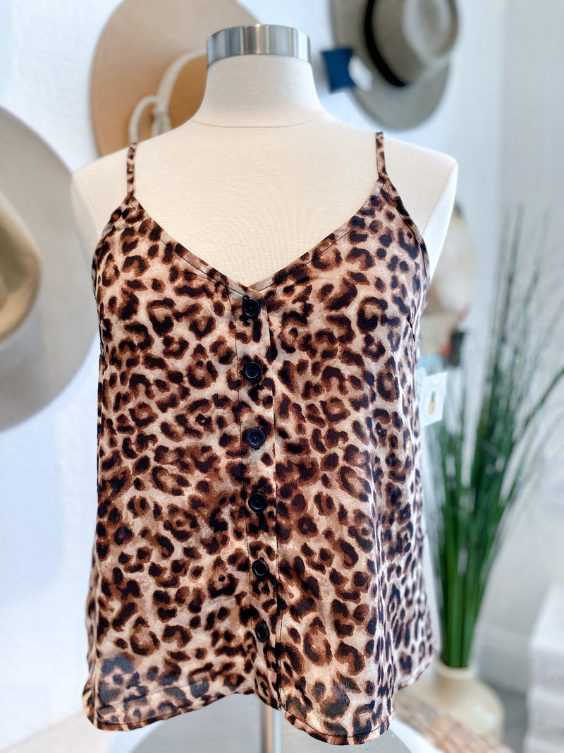 Cheetah Print Button Front Tank Top - Pineapple Lain Boutique