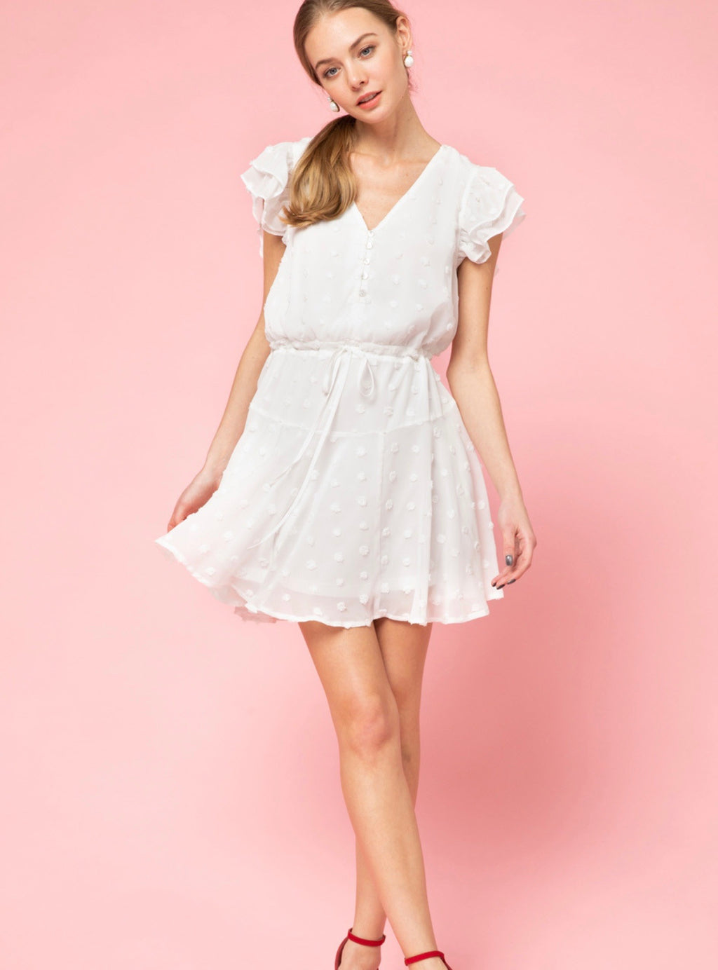 White Hot Summer Dotted Swiss V-Neck Dress - White - Pineapple Lain Boutique