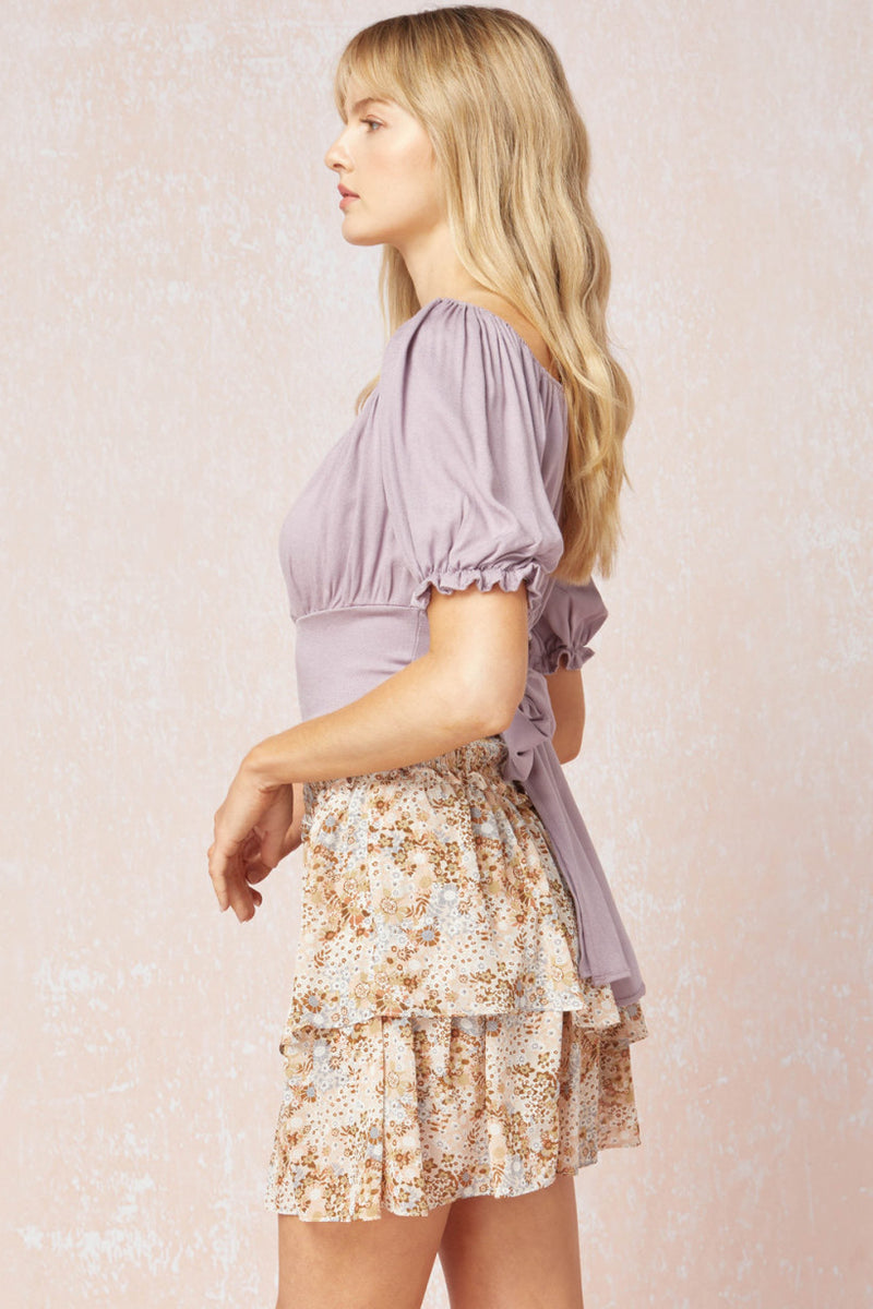 Come Away With Me Puff Sleeve Crop Top - Lavender