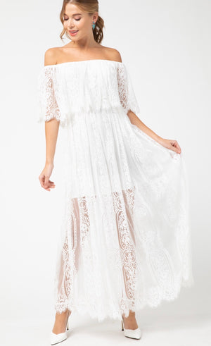 Bohemian Dreams Lace Maxi Dress - Ivory - Pineapple Lain Boutique