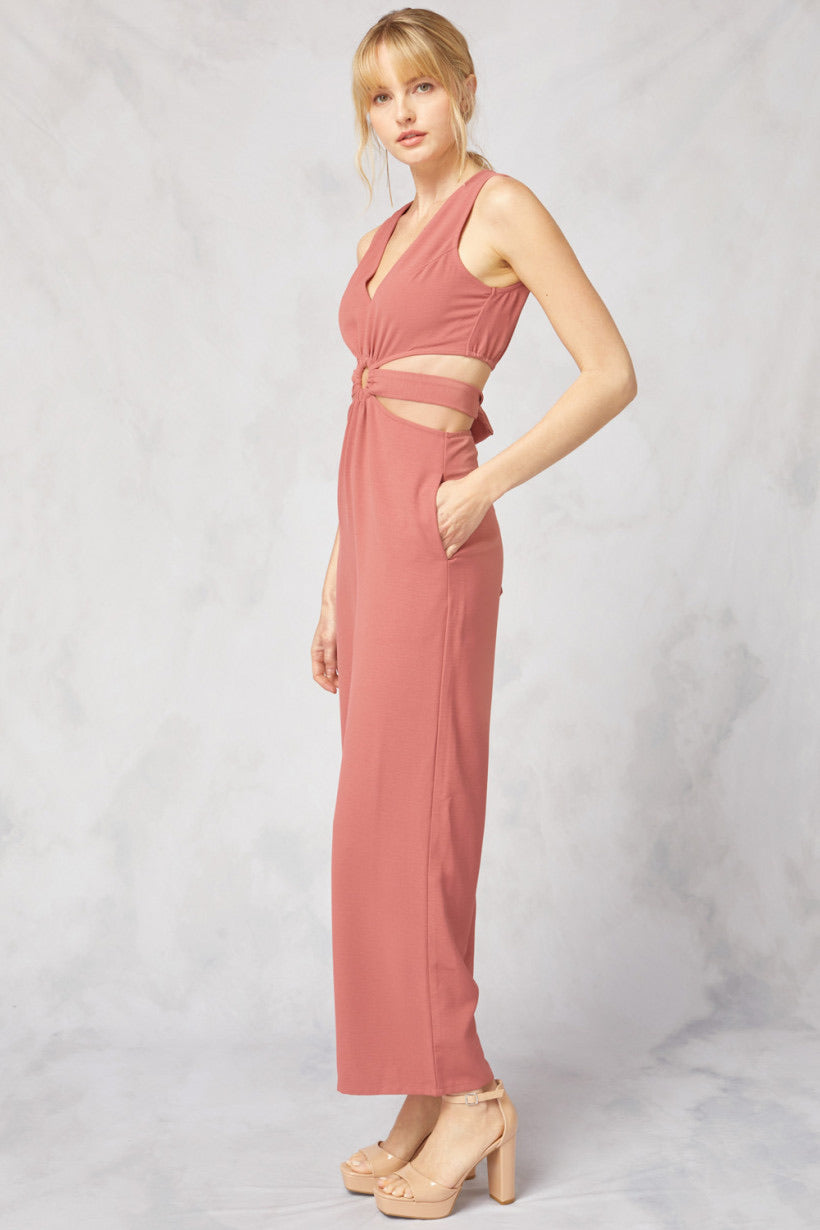 Palm Beach O-Ring Cut Out Jumpsuit - Salmon