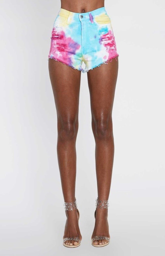 Tie Dye Denim Shorts - Sunset - Pineapple Lain Boutique