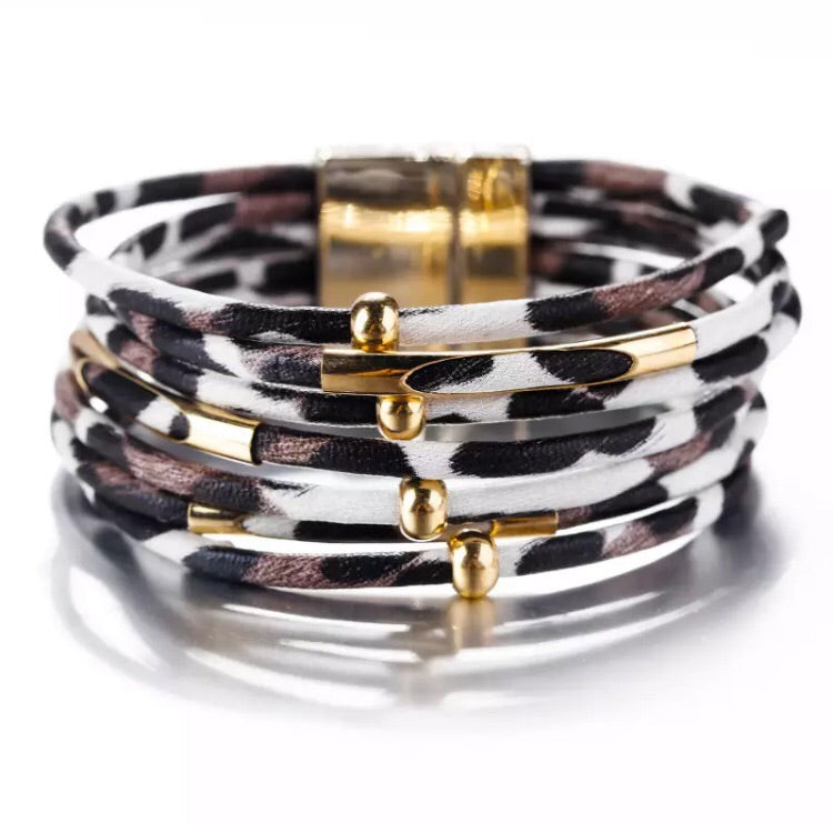 Animal Print Leather Bracelet - Pineapple Lain Boutique