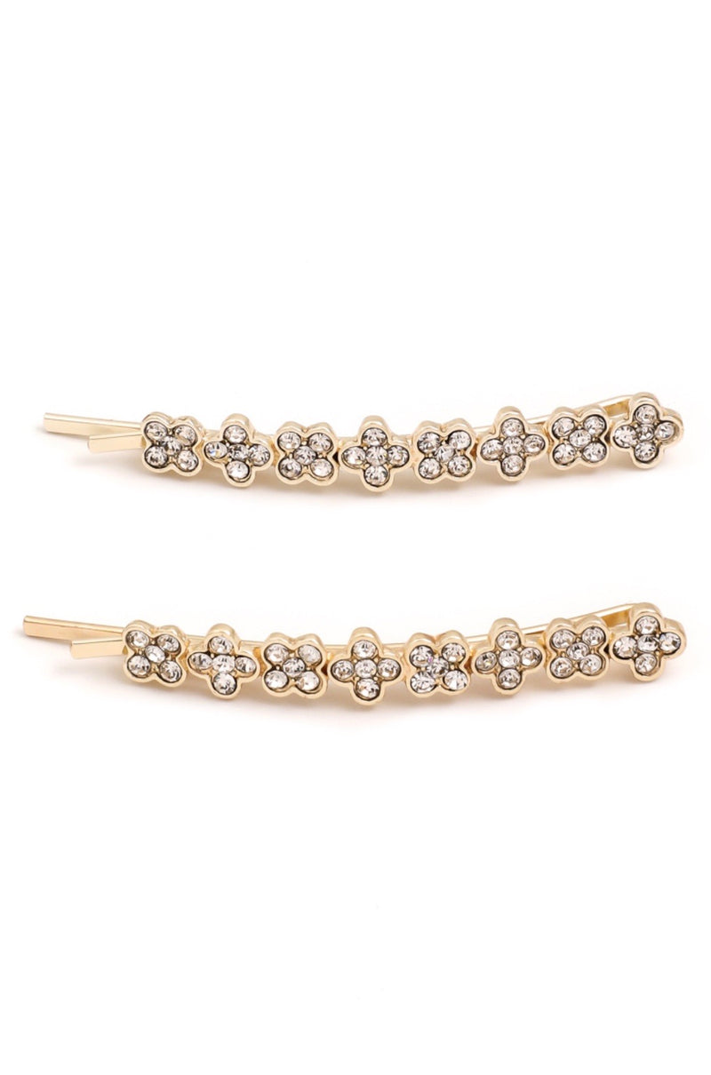 Clover Rhinestone Hair Pin Set - Pineapple Lain Boutique