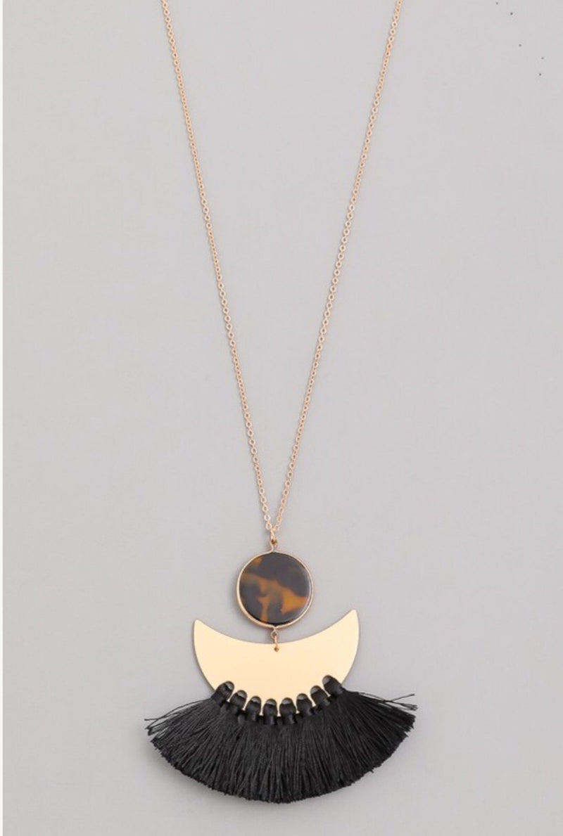 Half Moon Tassel Pendant Necklace - Pineapple Lain Boutique