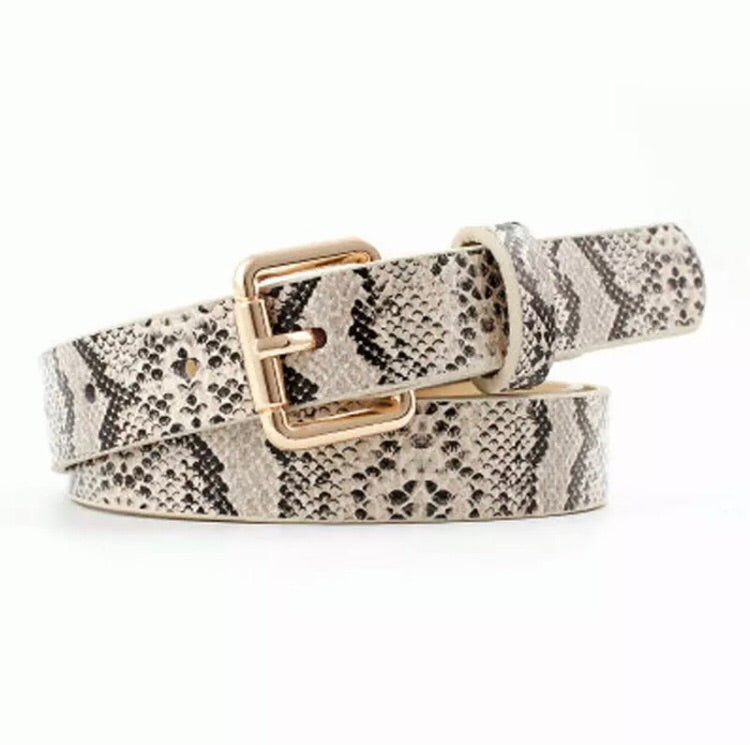 Square Buckle Snake Skin Pattern Belt - Pineapple Lain Boutique