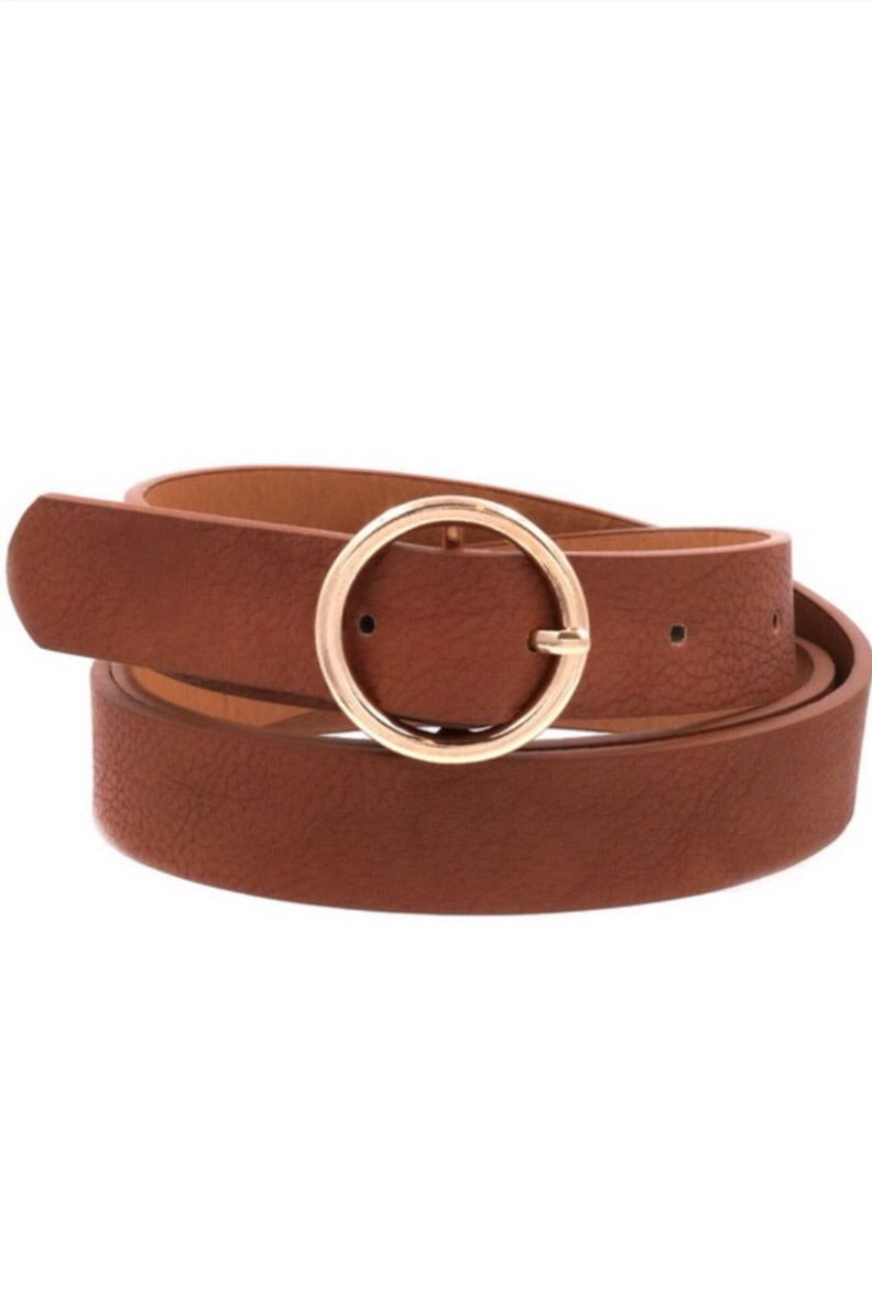 Faux Leather Metal Ring Belt - Brown - Pineapple Lain Boutique