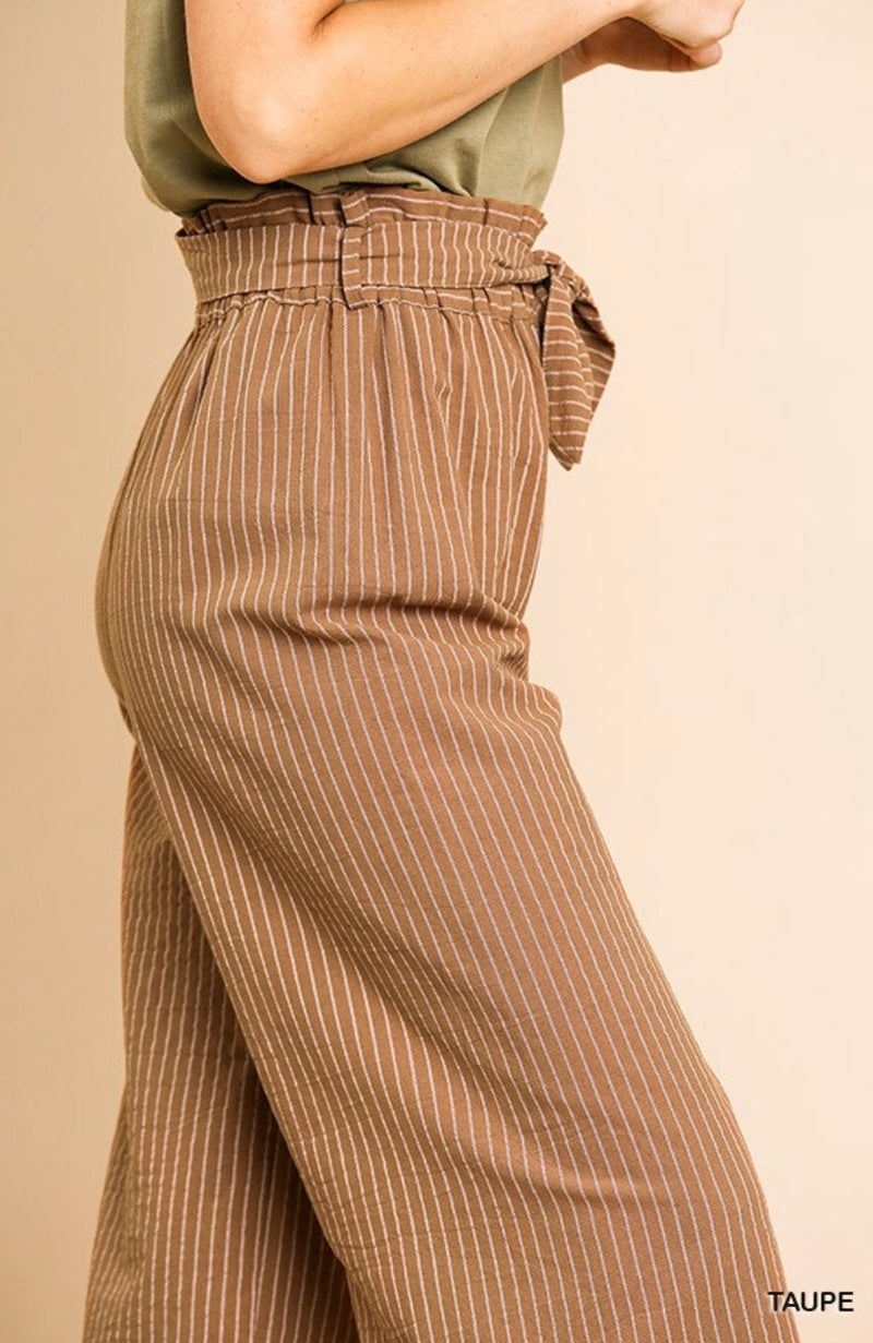 Topanga Taupe Striped Wide Leg Paper Bag Pants - Pineapple Lain Boutique