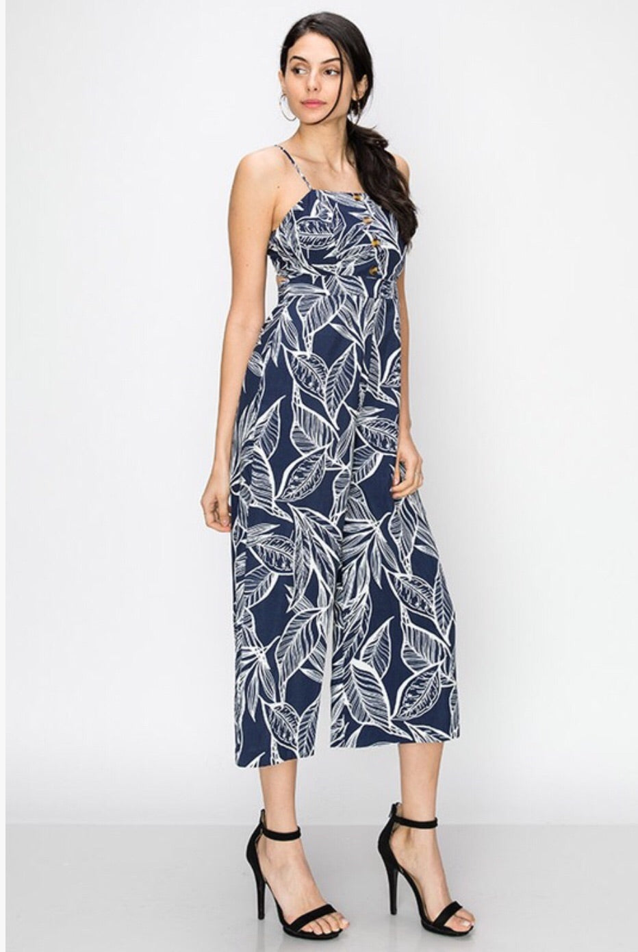 Navy Palm Leaf Print Jumpsuit - Pineapple Lain Boutique