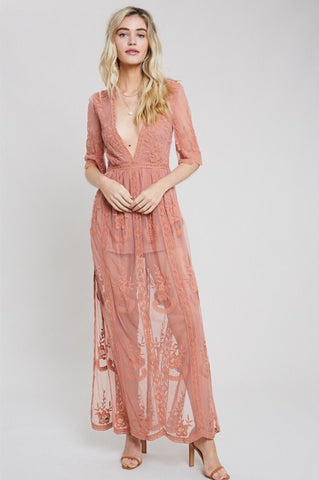 Muted Tones Striped Wrap Maxi Dress