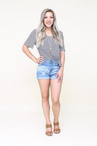 Light Wash Distressed Denim Shorts - Pineapple Lain Boutique