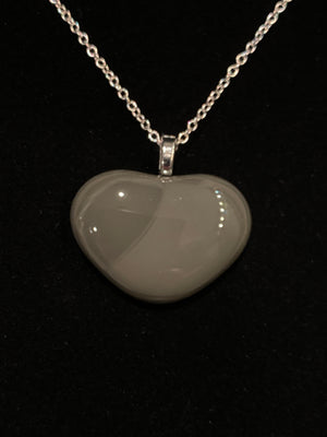 Gray Glass Heart Pendant Necklace