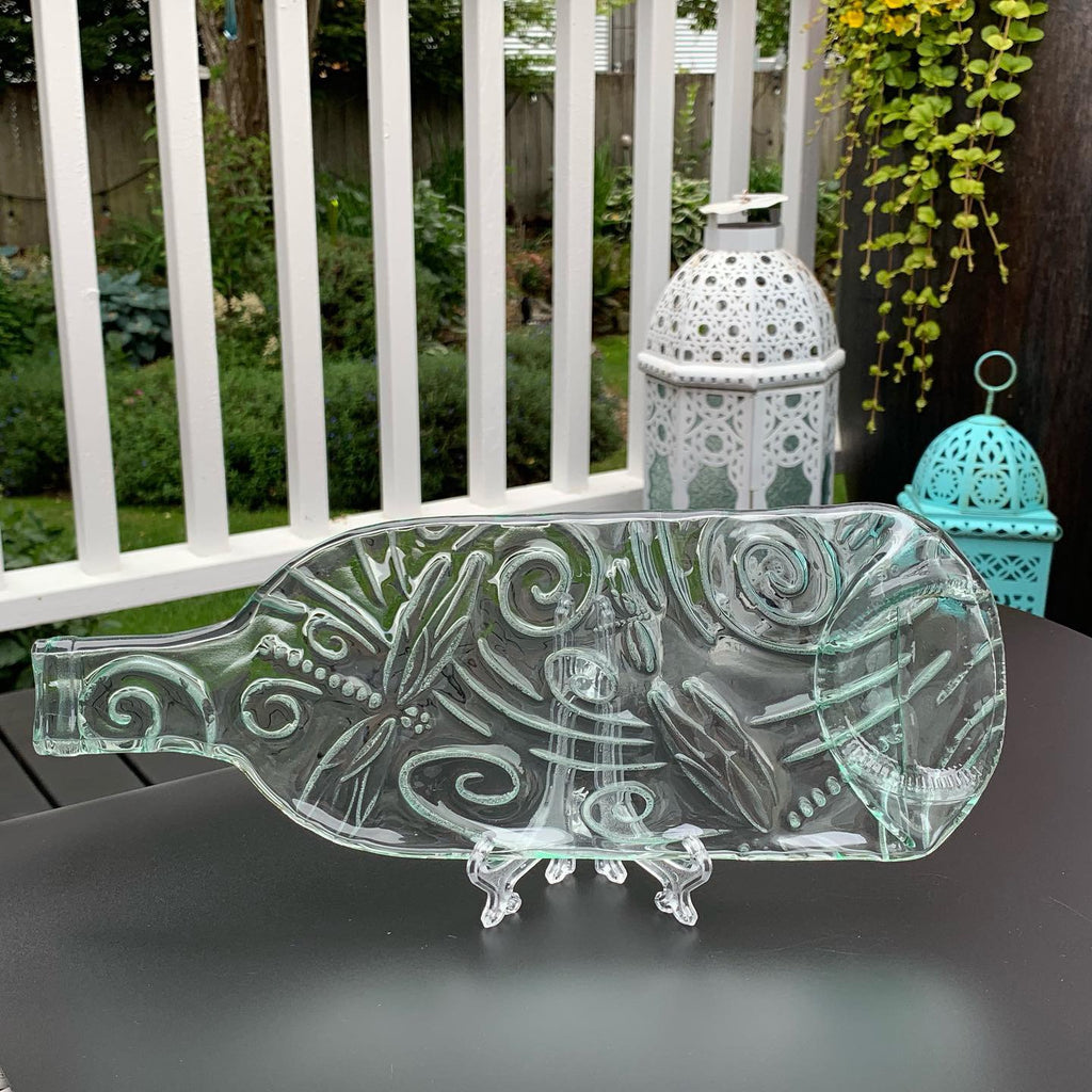 Light Teal Wine Bottle Cheese Board With Imprinted Dragonfly Design