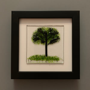 Fused Glass Summer Tree in Black Frame