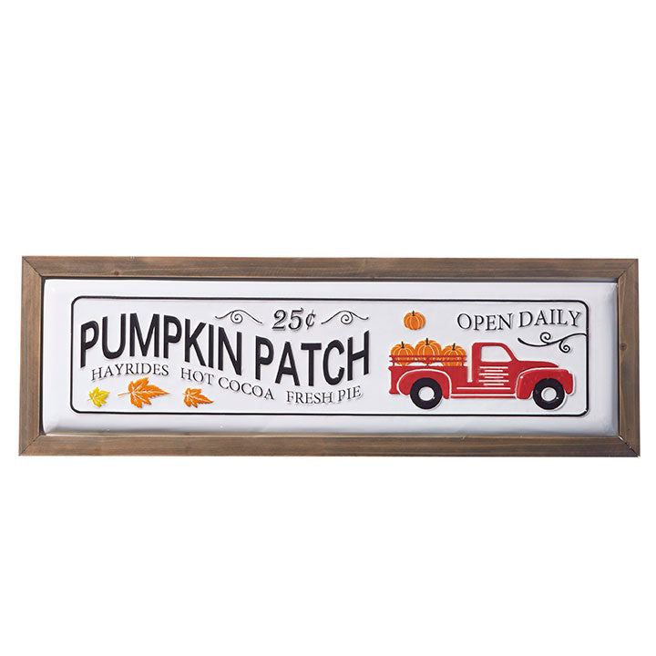 "RAZ Imports 28"" Pumpkin Patch Framed Metal Sign"