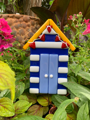 Beach Hut Glass Garden Stake