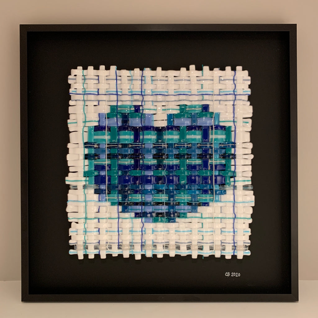 Woven Blue Glass Heart