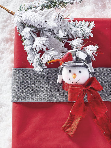 "RAZ Imports 7"" Buffalo Checked Hat Snowman Ornament"