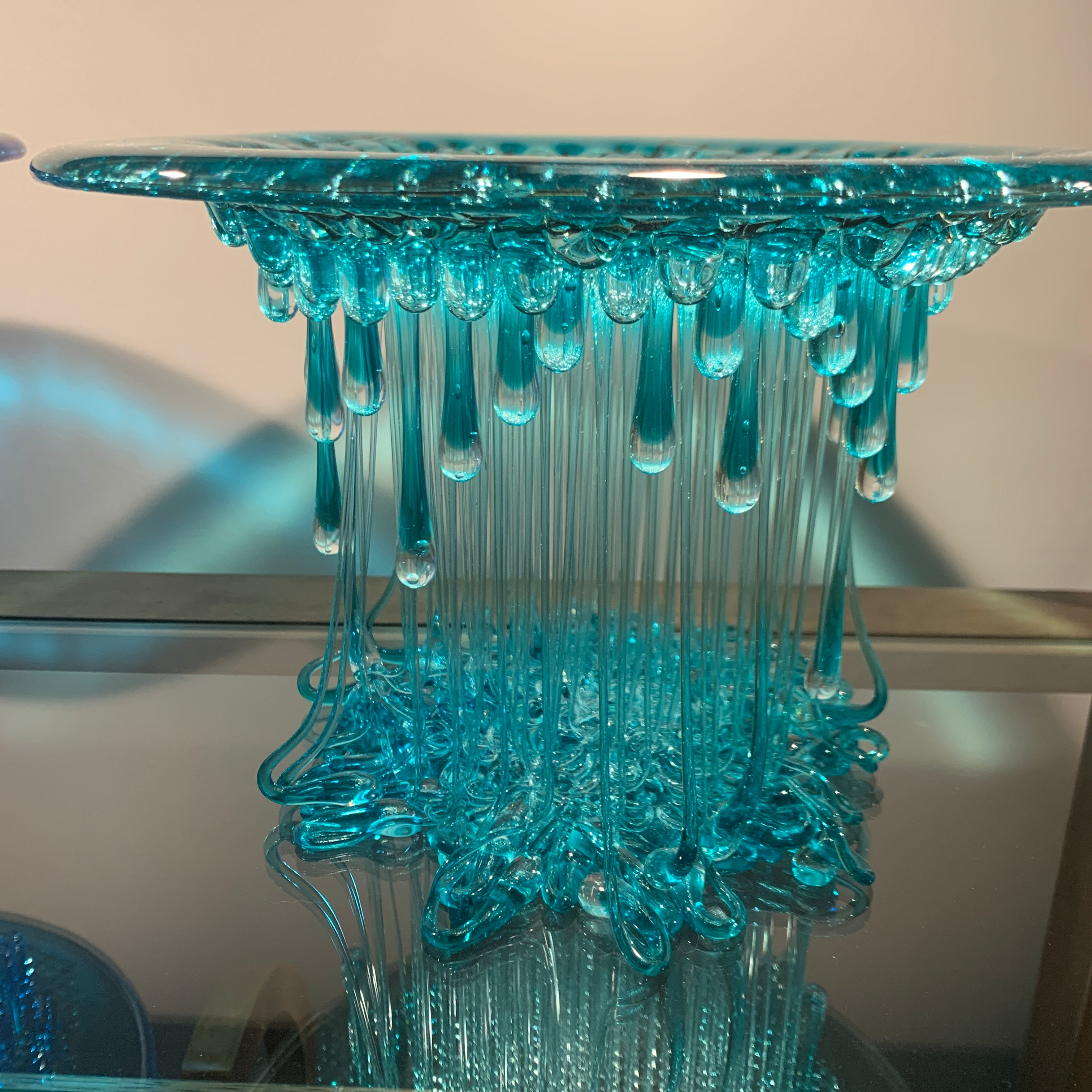 Turquoise Dripping Glass Jellyfish