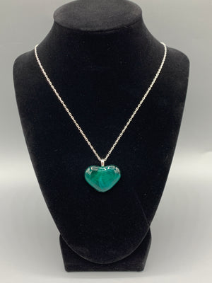 Emerald Green Heart Glass Pendant Necklace