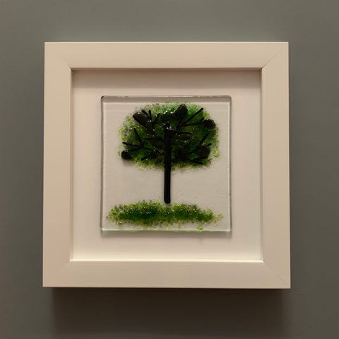 Fused Glass Summer Tree in White Frame