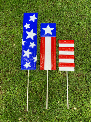Red, White, and Blue, Patriotic Garden Stakes