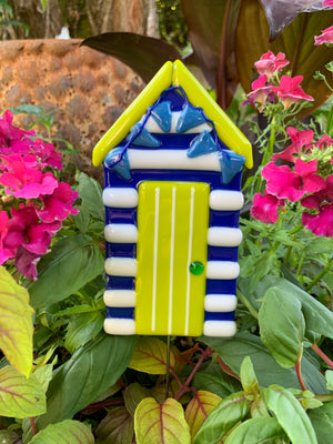 Seahawk Beach Hut Glass Garden Stake
