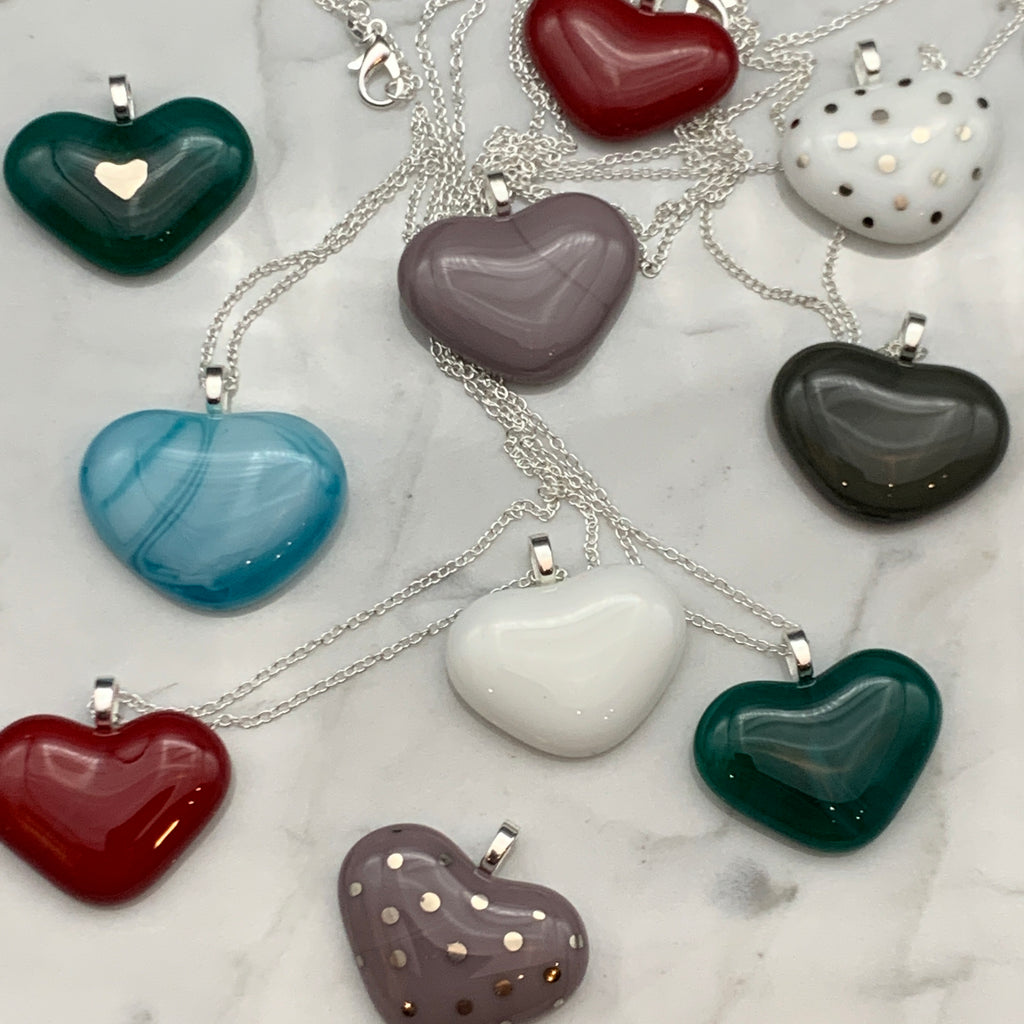 Fused Glass Heart Pendants