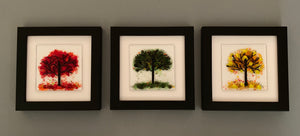 Handmade Glass Tree in Red, Green, and Yellow Wall Art in Black Picture Frame