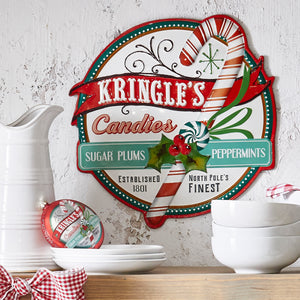 RAZ Imports Kringle's Candies Metal Sign