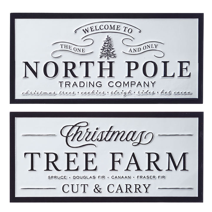 "RAZ Imports 16"" North Pole and Tree Farm Metal Signs"