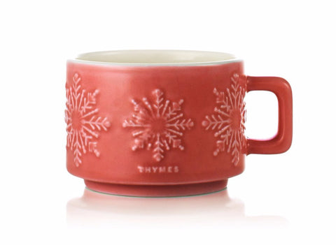 Thymes Dark Chocolate Hot Cocoa Candle In Red Ceramic Mug