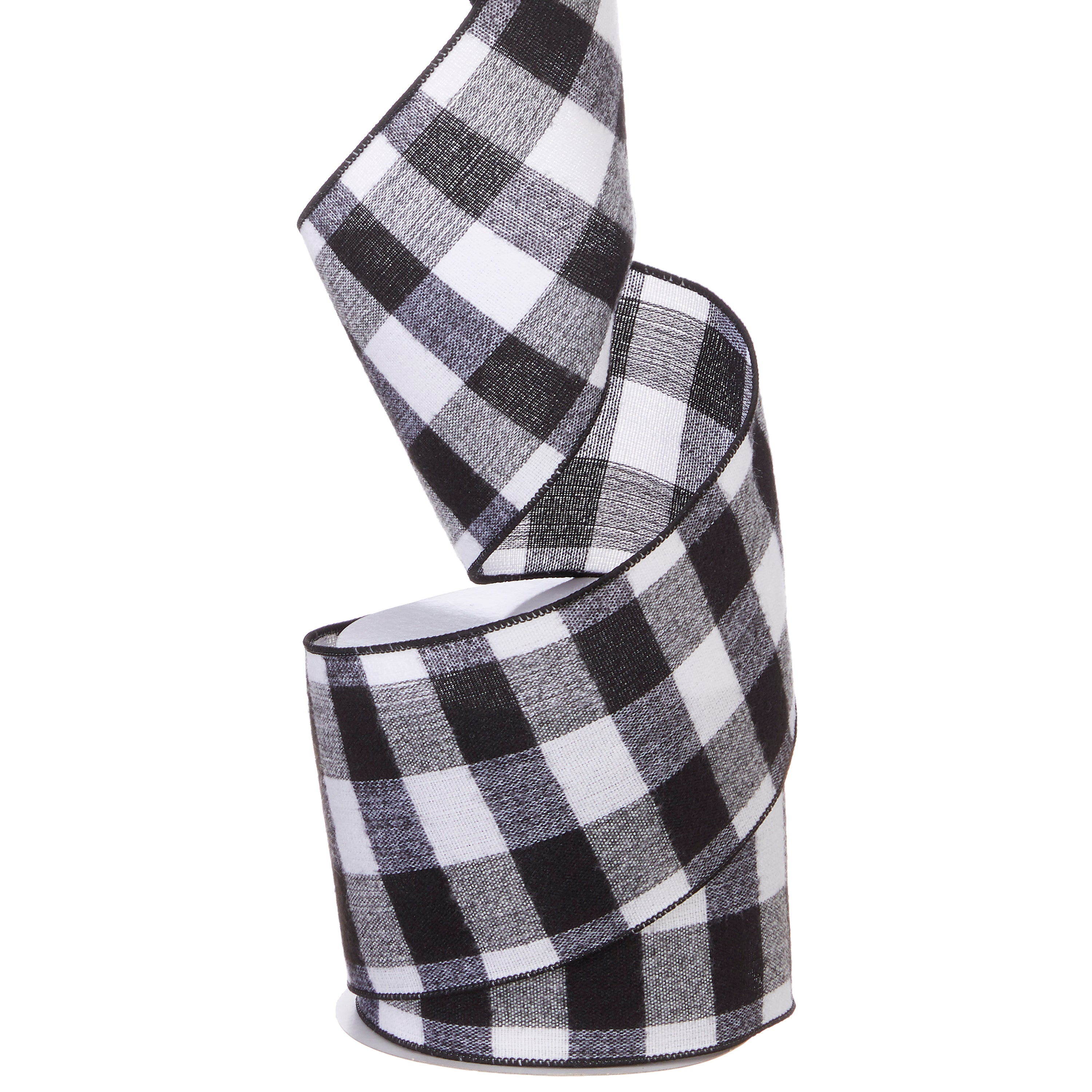RAZ Imports Black and White Checkered Wired Ribbon