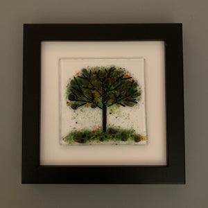 Handmade Glass Green Tree Wall Art in Black Picture Frame