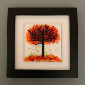 Handmade Glass Orange Autumn Tree Wall Art in Black Picture Frame
