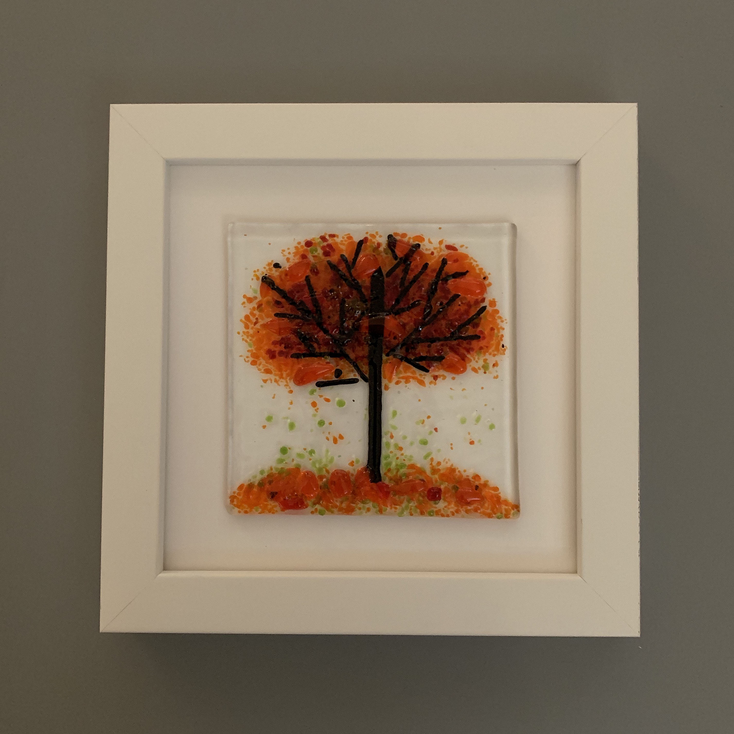 Handmade Glass Autumn Orange Tree Wall Art in White Picture Frame