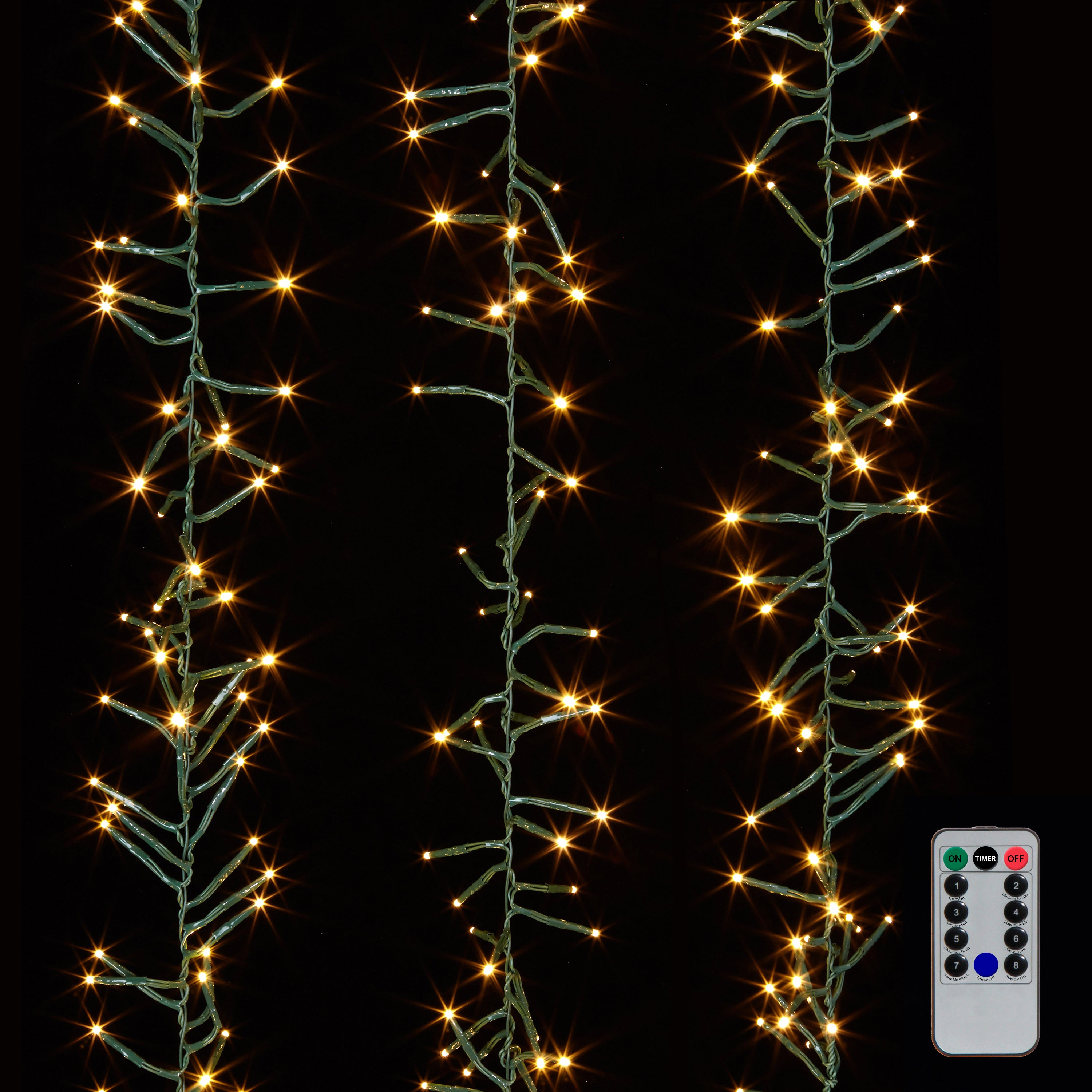 RAZ Imports LED Cluster Garland Christmas Lights With Remote