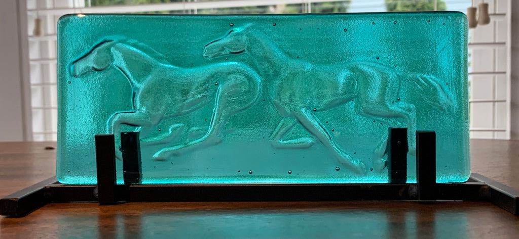 Running Horses Cast in Turquoise Glass