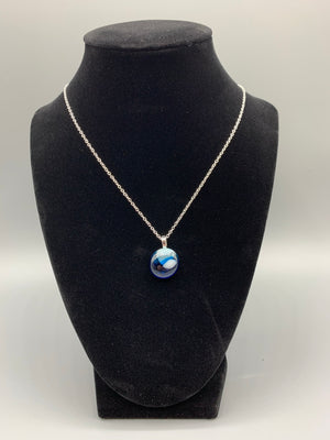 Blue and White Agate Style Pendant Necklace