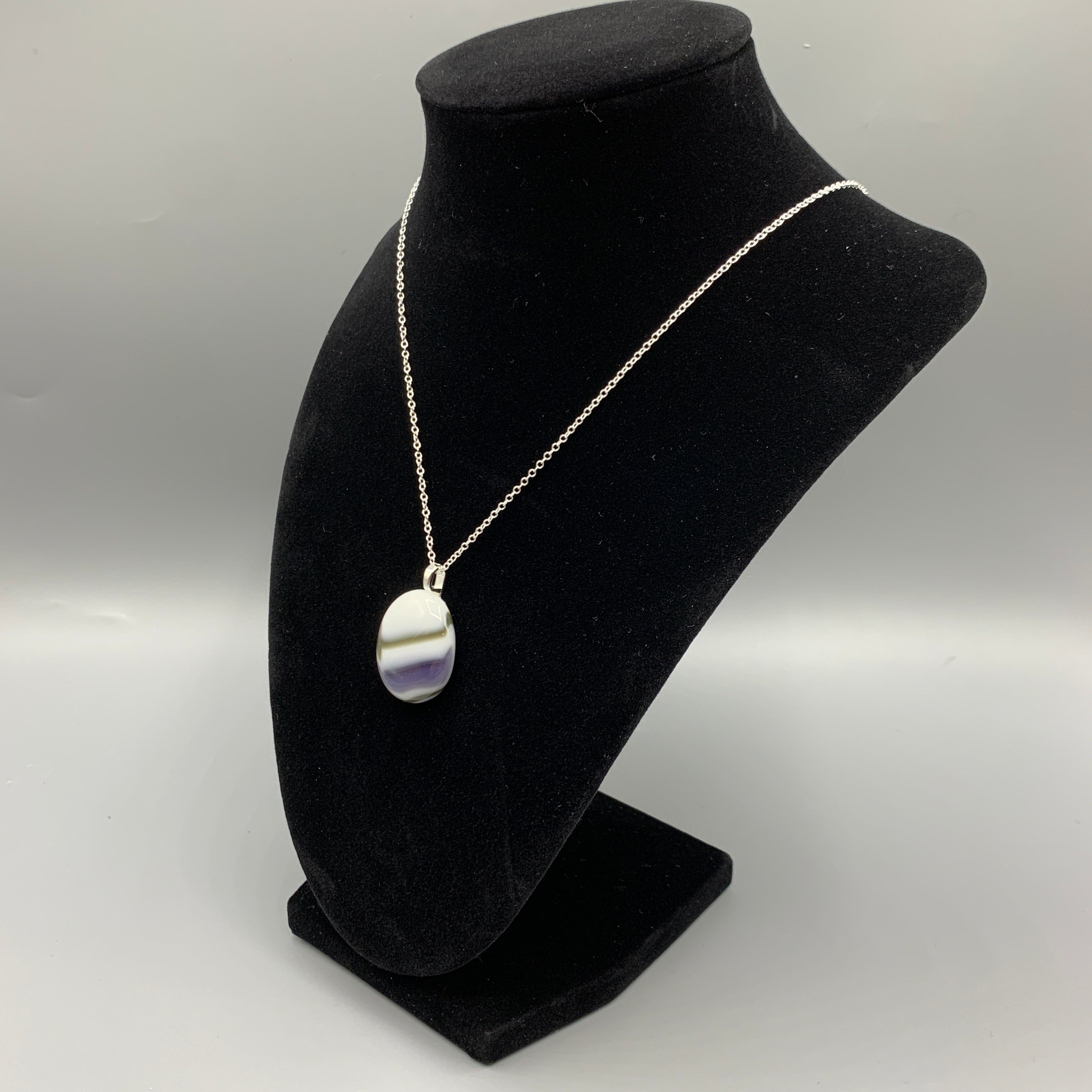 Purple, Gray, and White Agate Style Pendant