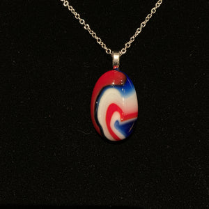 Red, White, and Blue Agate Style Pendant