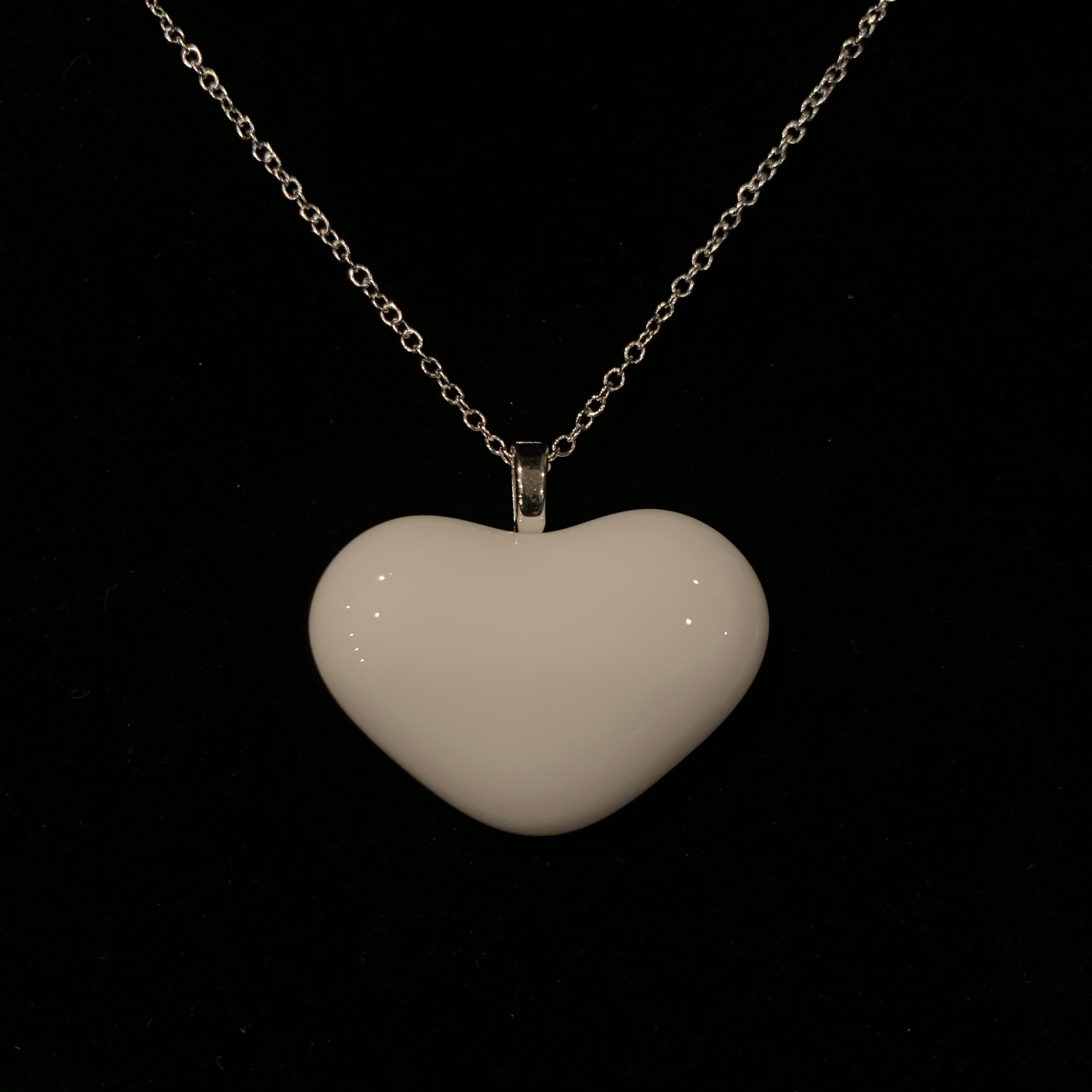 White Heart Glass Pendant Necklace