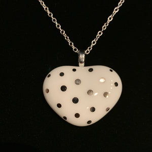 White Heart With White Gold Polka Dots Glass Pendant Necklace