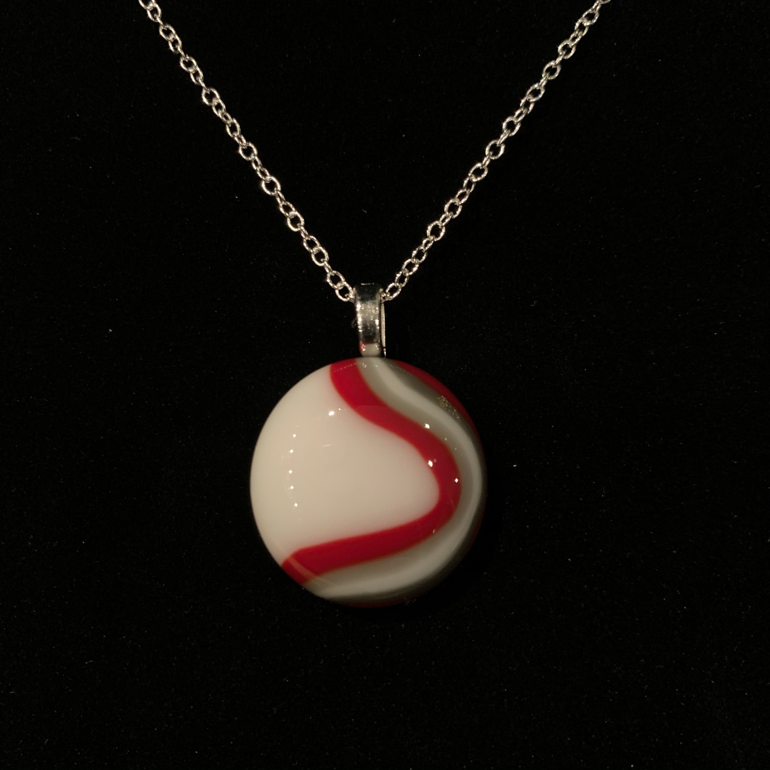 Red, Gray, and White Agate Style Pendant