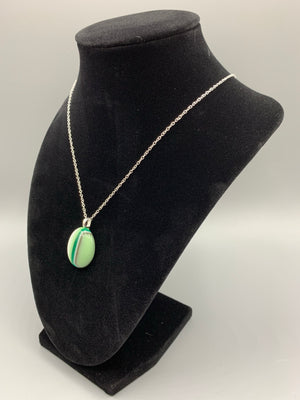 Green, Gray, and White Agate Style Pendant Necklace