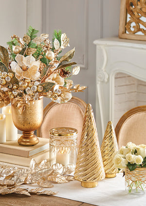 Gold Accented Magnolia Leaf Spray