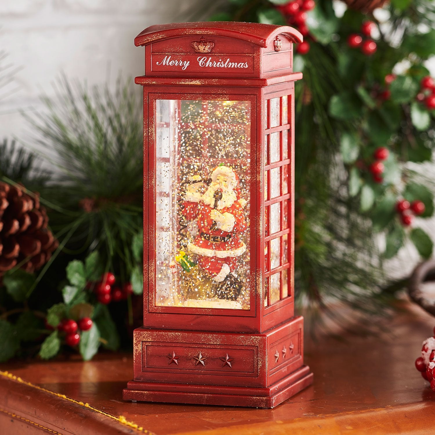 Santa in Phone Booth Lighted Snow Globe