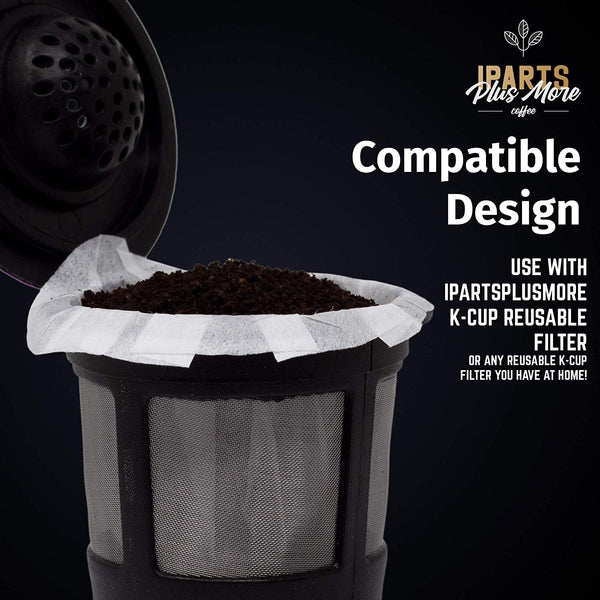 White Paper Coffee Filter Inserts For iPartsPlusMore Reusable K-Cup Pods - Disposable & Biodegradable - Universally Compatible (300 ct)