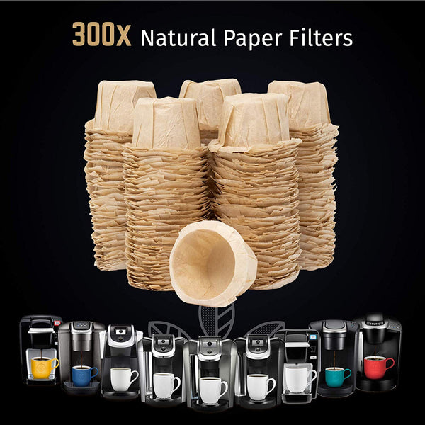 Natural Unbleached Paper Coffee Filter Inserts For iPartsPlusMore Reusable Pods - Disposable & Biodegradable - Universally Compatible (300 ct)